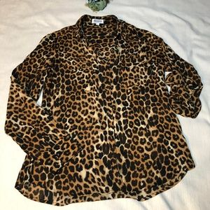 Express Animal Print Portofino Shirt Size S
